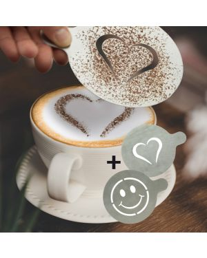"Set 2 stencil per caffe' ""cuore + smile"" securit STN-SS-CO 8719075283332 STN-SS-CO"
