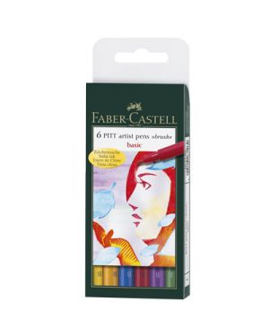 Artist pen brush faber in busta 6 pz. col base ass FABER CASTELL 167103 4005401671039 167103