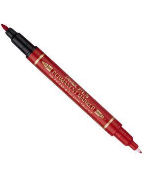 Marcatore permanente twin tip doppia punta f - ef rosso pentel N75W-BE 85827A N75W-BE