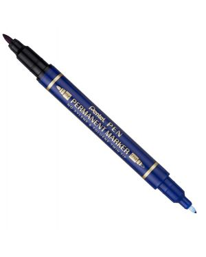 Marcatore permanente twin tip doppia punta f - ef blu pentel cod.N75W-CE 85828A N75W-CE
