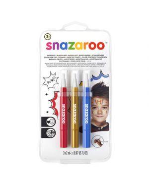 Trucco pennarelli a pennello snazaroo col rosso oro blu SNAZAROO cod. 1180140 0766416640000 1180140