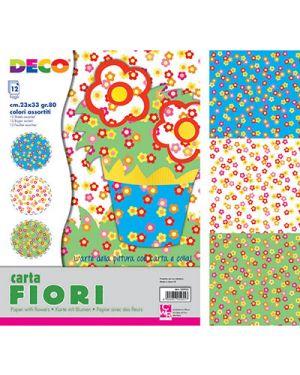 Carta fiorellini 23x33 cm fg. 12 col. ass CWR 5955 8004957059557 5955