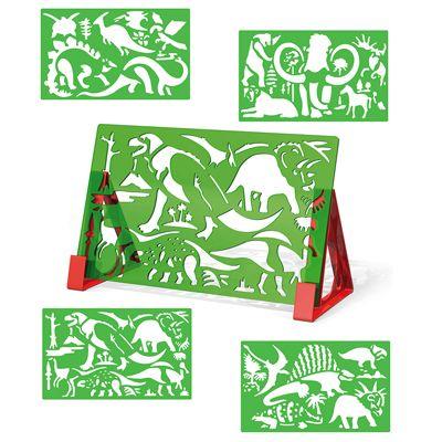 Quercetti 2613 Sagome per disegnare dinosauri con album e pennarelli