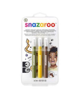 Trucco pennarelli a pennello Snazaroo colori giallo,marrone,verde SNAZAROO  cod.1180143 0766416640031 1180143
