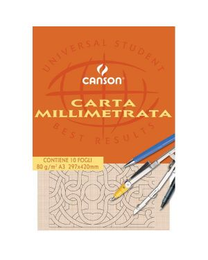 Blocco carta opaca millimetrata 297x420mm 10fg 80gr canson C200005824 3148950058249 C200005824