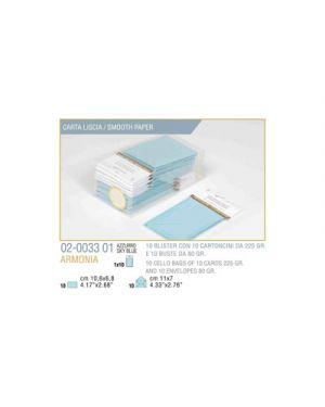 Blister 10 - 10 biglietto busta armonia cm.7x11 azzurro KARTOS 2003301 8009162304478 2003301