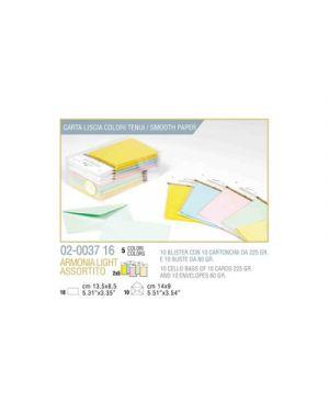 Blister 10 - 10 biglietto busta armonia cm.9x14 - 5 colori tenui KARTOS 2003716 8009162305475 2003716