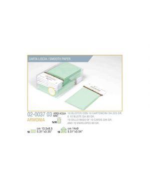 Blister 10 - 10 biglietto busta armonia cm.9x14 verde pastello KARTOS 2003703 8009162304683 2003703