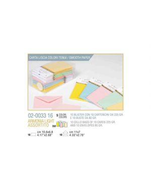 Blister 10 - 10 biglietto busta armonia cm.7x11 - 5 colori tenui KARTOS 2003316 8009162305604 2003316