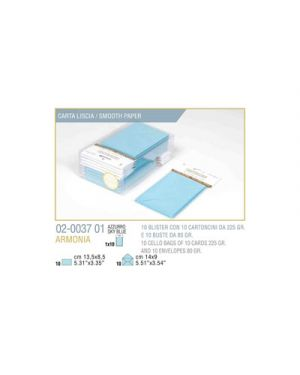 Blister 10 - 10 biglietto busta armonia cm.9x14 azzurro KARTOS 2003701 8009162304621 2003701