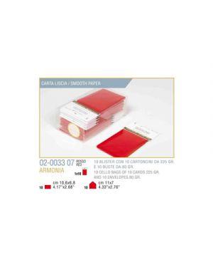 Blister 10 - 10 biglietto busta armonia cm.7x11 rosso KARTOS 2003307 8009162304539 2003307
