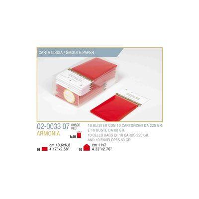 Blister 10 - 10 biglietto busta armonia cm.7x11 rosso KARTOS 2003307 8009162304539 2003307 by Kartos