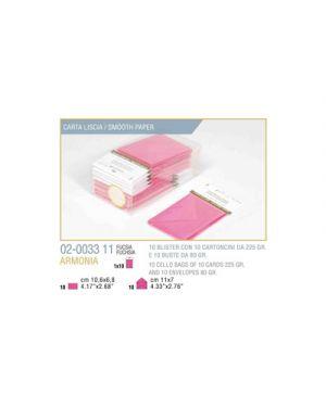 Blister 10 - 10 biglietto busta armonia cm.7x11 fuxia KARTOS 2003311 8009162304591 2003311