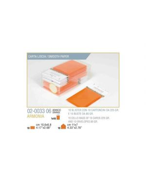 Blister 10 - 10 biglietto busta armonia cm.7x11 arancio KARTOS 2003306 8009162304522 2003306
