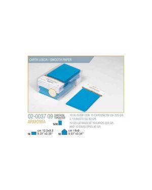 Blister 10 - 10 biglietto busta armonia cm.9x14 turchese KARTOS 2003709 8009162304805 2003709