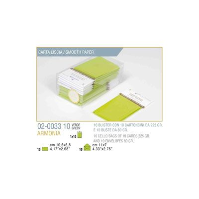 Blister 10 - 10 biglietto busta armonia cm.7x11 verde mela KARTOS 2003310 8009162304584 2003310 by Kartos