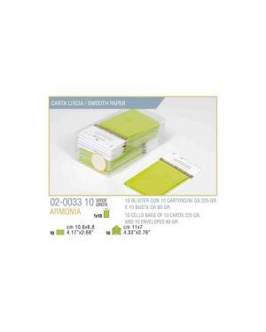 Blister 10 - 10 biglietto busta armonia cm.7x11 verde mela KARTOS 2003310 8009162304584 2003310