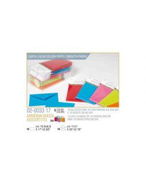 Blister 10 - 10 biglietto busta armonia cm.7x11 - 5 colori forti KARTOS 2003317 8009162305628 2003317