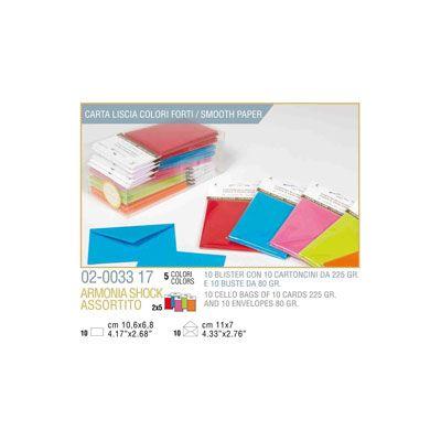 Blister 10 - 10 biglietto busta armonia cm.7x11 - 5 colori forti KARTOS 2003317 8009162305628 2003317 by Kartos