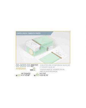 Blister 10 - 10 biglietto busta armonia cm.7x11 verde pastello KARTOS 2003303 8009162304492 2003303