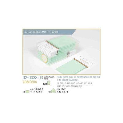 Blister 10 - 10 biglietto busta armonia cm.7x11 verde pastello KARTOS 2003303 8009162304492 2003303 by Kartos