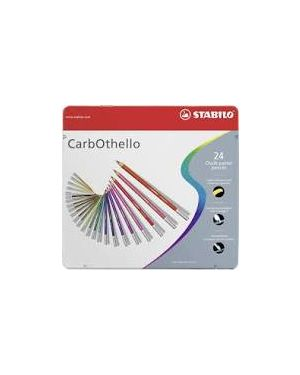 Astuccio metallo 24 carbothello colori assortiti stabilo 1424-6 4006381279628 1424-6-1 by Stabilo