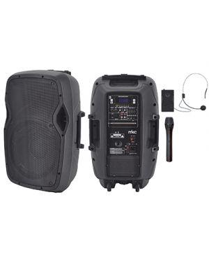 Sistema portatile 60w rms fm - bt - mp3 player - eq.e 2 radiomicrofoni vhf MELCHIONI 550922017 8006012342147 550922017
