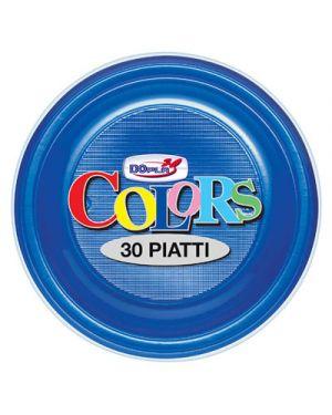 Piatti plastica piani diametro 22 pz.30 blu DOPLA 1490 8008650013816 1490_38109