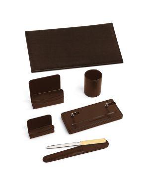 Servizio scrittoio classic marrone in similpelle 6 pezzi 121-M 8002787012155 121-M_38889