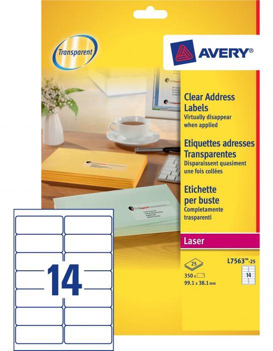 Poliestere adesivo l7563 trasparente 25fg a4 99,1x38,1mm (14et - fg) laser avery L7563-25 5014702177293 L7563-25_45201 by Avery