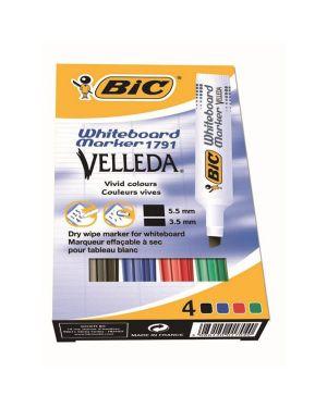 Astuccio pennarello velleda 1791 punta scalpello whiteboard 4 colori bic 8757892 3086123155992 8757892