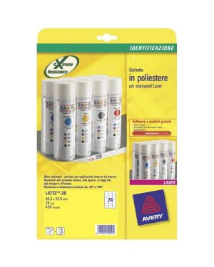 Poliestere adesivo l4773 bianco 20fg a4 63,5x33,9mm (24et - fg) laser avery L4773-20 5014702109201 L4773-20_47691 by Avery