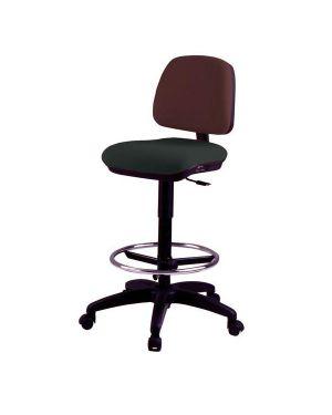 Sedia alta tecnigrafo esos e4s nera con poggiapiedi e ruote EOE4S/EN 8050043741004 EOE4S/EN