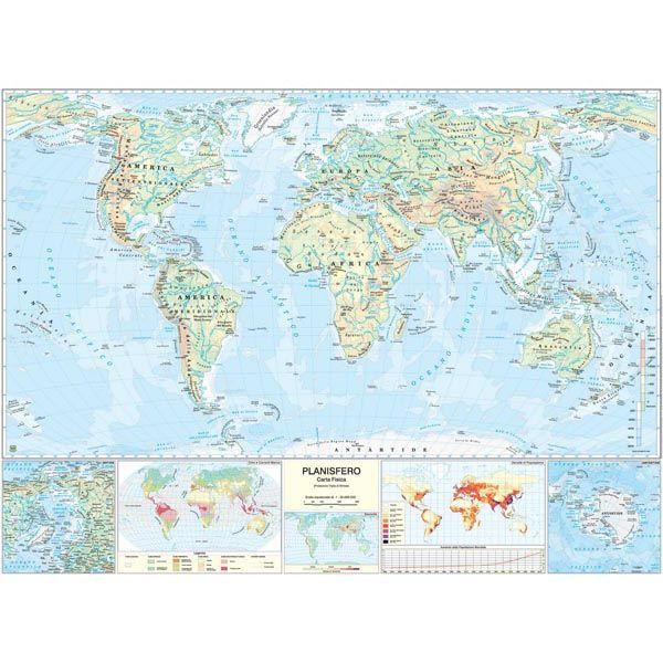 Immagini Cartina Geografica Del Mondo.Carta Geografica Scolastica Murale Mondo Belletti