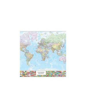 Carta geografica murale planisfero c/bandiere 132x97cm belletti M09PL/07_57416 by Esselte