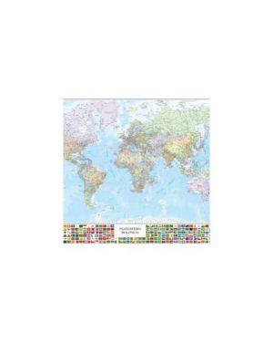 Carta geografica murale planisfero c/bandiere 132x97cm belletti M09PL/07_57416