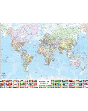 Carta geografica murale planisfero c - bandiere 132x97cm belletti M09PL/07 9722281465545 M09PL/07_57416