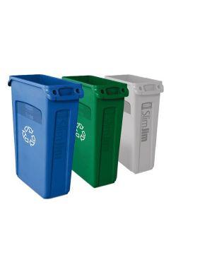 Contenitore slim jim c/maniglie 87lt blu con logo ricicl. rubbermaid 3540-07-BLU_57462