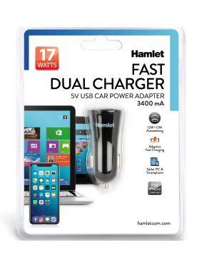 Adattatore auto dual usb 17w 3.4a Hamlet XPW12U234 8000130592514 XPW12U234 by Hamlet