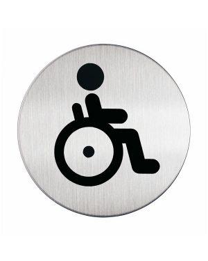 Pittogramma Ø 8,3cm 'toilette disabili' in acciaio 4906-23 4005546400150 4906-23_61378 by Durable