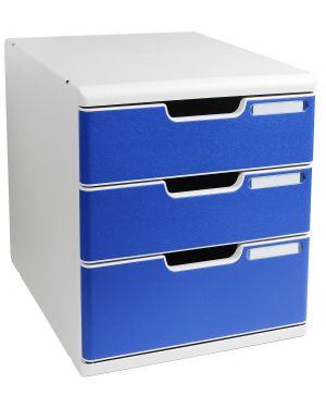 Cassettiera modulo a4 3 cassetti grigio - blu multiform 325003D 9002493422353 325003D_61953