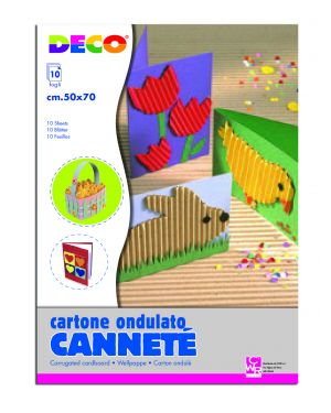 Set 10fg cartoncino ondulato 50x70cm cannete' colori assortiti cwr 2205 8004957026429 2205_62235