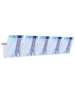 Kit barra da parete cm.125 + 5 portadepliant vision trasparente 1002007_64378 by Studio T