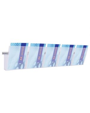Kit barra da parete cm.125 + 5 portadepliant vision trasparente STUDIO T 1002007 8033162462104 1002007_64378