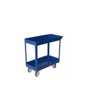 Carrello c/ruote in acciaio verniciato blu 2 ripiani 84x41cm h 82cm TC4102_65195