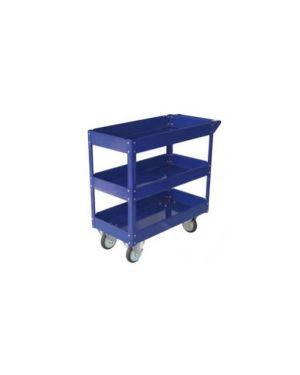 Carrello c/ruote in acciaio verniciato blu 3 ripiani 84x41cm h 82cm TC4103_65196