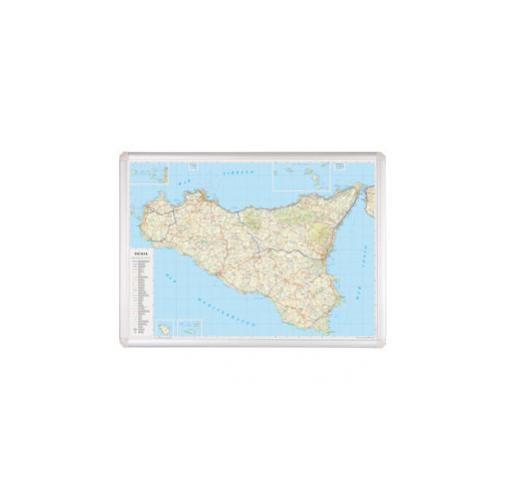 Cartina Geografica Sicilia Politica.Carta Geografica Regione Sicilia 89x123cm Magnetica