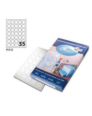 Poliestere adesivo pc4 trasparente 100fg a4 Ø36mm (35et - fg) laser tico PC4-36 8007827243025 PC4-36_68736 by Tico