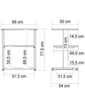Tavolo stampante 2 ripiani Nilox RO17.01.1087 7611990920754 RO17.01.1087