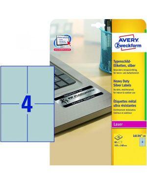 Etichette argento 105x148mm 20ff Avery L6134-20 4004182049846 L6134-20